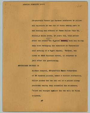 Primary view of object titled '[News Script: Beating suspects]'.