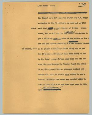 Primary view of object titled '[News Script: Lost money]'.