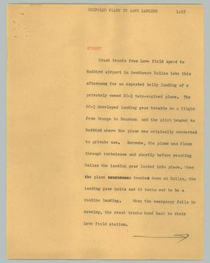 Primary view of object titled '[News Script: Crippled plane in safe landing]'.