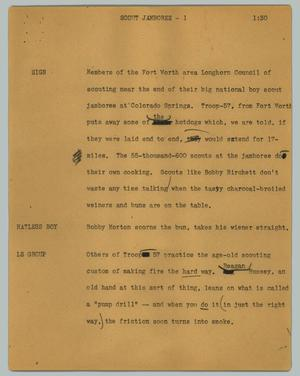Primary view of object titled '[News Script: Scout jamboree]'.