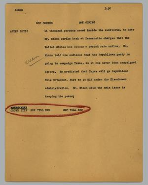 Primary view of object titled '[News Script: Nixon]'.