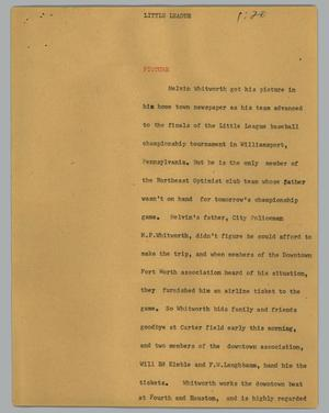 Primary view of object titled '[News Script: Little League]'.