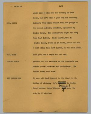 Primary view of object titled '[News Script: Swimming]'.