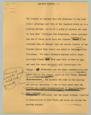 Primary view of object titled '[News Script: Saginaw hearing]'.