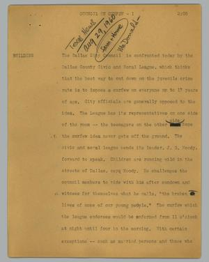 Primary view of object titled '[News Script: Council on curfew]'.