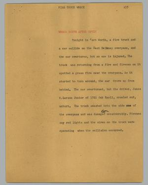 Primary view of object titled '[News Script: Fire truck wreck]'.