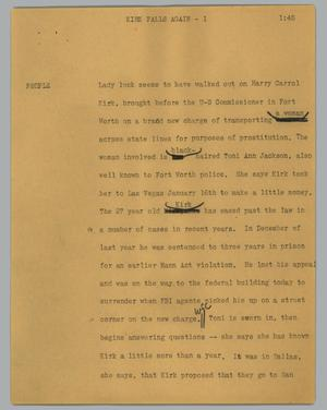 Primary view of object titled '[News Script: Kirk falls again]'.