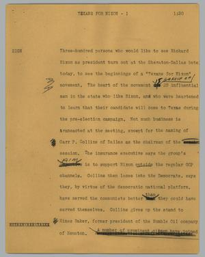 Primary view of object titled '[News Script: Texans for Nixon]'.