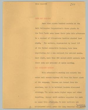 Primary view of object titled '[News Script: Bell walkout]'.