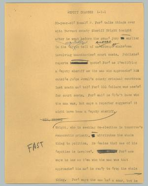 Primary view of object titled '[News Script: Deputy charges]'.
