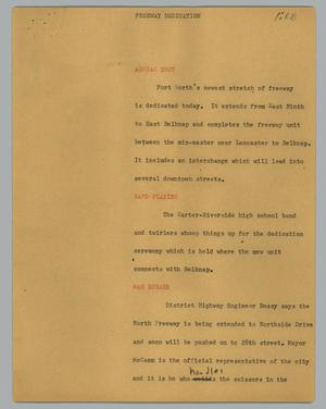 Primary view of object titled '[News Script: Freeway dedication]'.