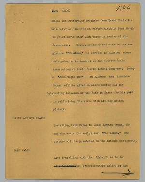 Primary view of object titled '[News Script: John Wayne]'.