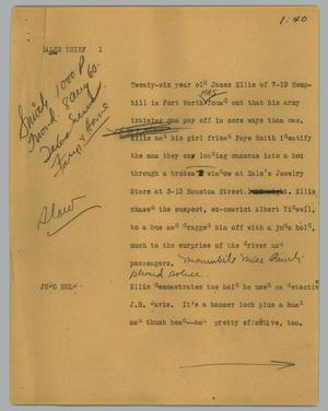 Primary view of object titled '[News Script: Sales thief]'.