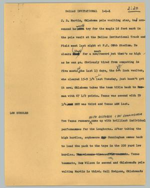 Primary view of object titled '[News Script: Dallas invitational]'.