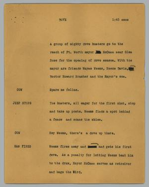 Primary view of object titled '[News Script: Dove]'.