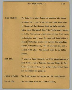Primary view of object titled '[News Script: Miss twin points]'.
