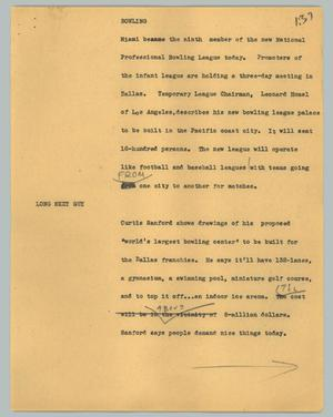 Primary view of object titled '[News Script: Bowling]'.