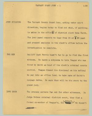 Primary view of object titled '[News Script: Tarrant Grand Jury]'.