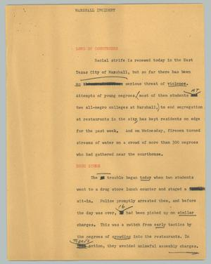 Primary view of object titled '[News Script: Marshall incident]'.