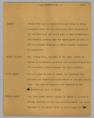 Primary view of object titled '[News Script: Camp Soroptimist]'.