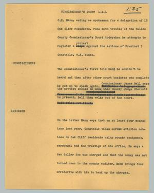 Primary view of object titled '[News Script: Commisioner's Court]'.