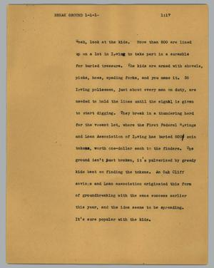 Primary view of object titled '[News Script: Break ground]'.