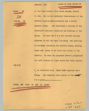 Primary view of object titled '[News Script: Senator Nye]'.