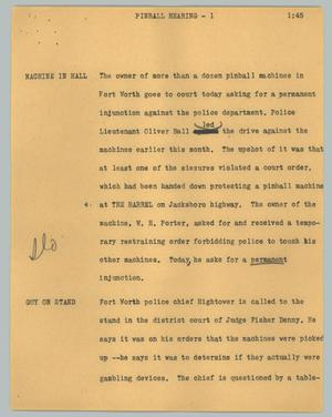 Primary view of object titled '[News Script: Pinball hearing]'.