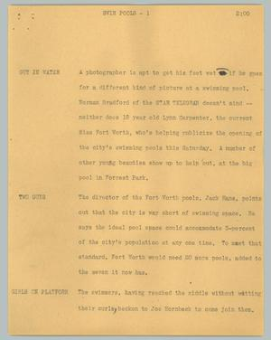 Primary view of object titled '[News Script: Swim pools]'.