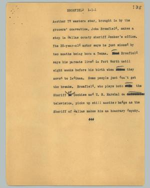 Primary view of object titled '[News Script: Bromfield]'.