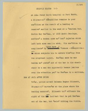 Primary view of object titled '[News Script: Cripple beaten]'.