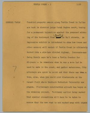 Primary view of object titled '[News Script: Turtle Creek]'.