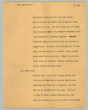 Primary view of object titled '[News Script: Fish show]'.