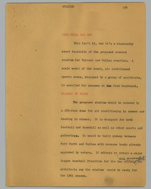 Primary view of object titled '[News Script: Stadium]'.
