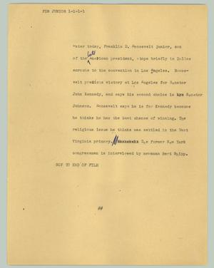 Primary view of object titled '[News Script: FDR Junior]'.