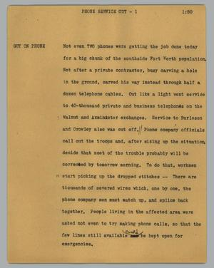 Primary view of object titled '[News Script: Phone service cut]'.