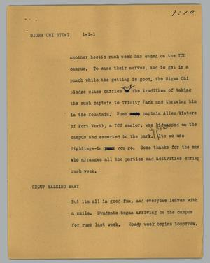 Primary view of object titled '[News Script: Sigma Chi Stunt]'.