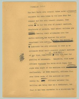 Primary view of object titled '[News Script: Pinballs]'.