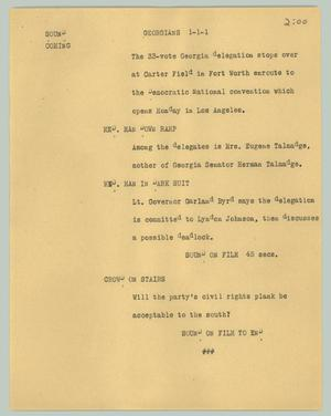 Primary view of object titled '[News Script: Georgians]'.