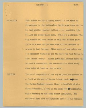 Primary view of object titled '[News Script: Balloon]'.