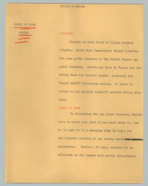 Primary view of object titled '[News Script: Edward R. Murrow]'.