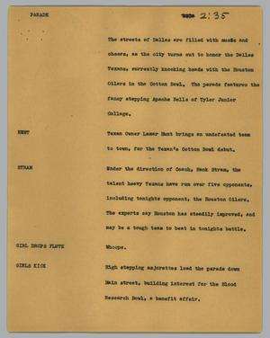 Primary view of object titled '[News Script: Parade]'.