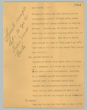 Primary view of object titled '[News Script: Car Thieves]'.