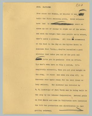 Primary view of object titled '[News Script: Pool Elevator]'.