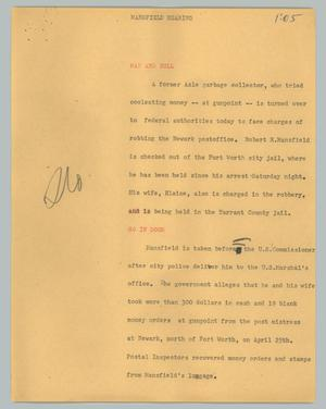 Primary view of object titled '[News Script: Mansfield hearing]'.