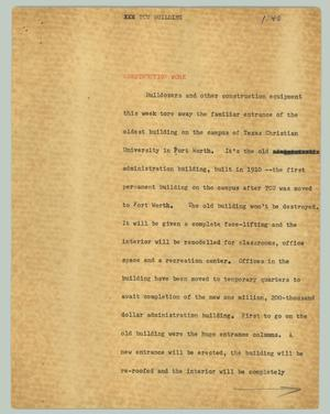 Primary view of object titled '[News Script: TCU building]'.