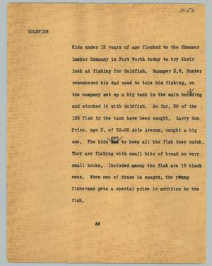 Primary view of object titled '[News Script: Goldfish]'.