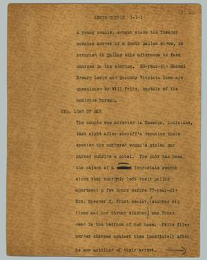 Primary view of object titled '[News Script: Lewis couple]'.