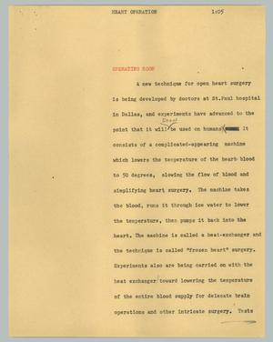 Primary view of object titled '[News Script: Heart operation]'.