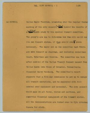 Primary view of object titled '[News Script: Dal. city council]'.